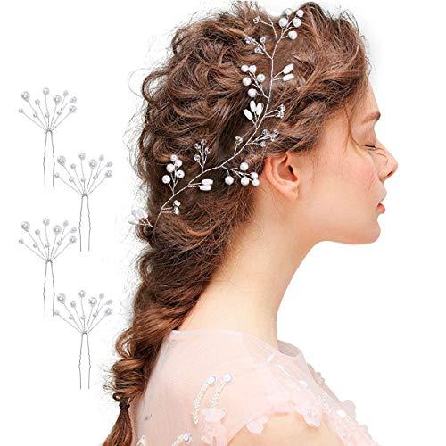 50cm Haarschmuck Hochzeit, Mode Haarband Hochzeit Kunstperlen und Strass Haardraht Braut für Frauen und Mädchen mit 4 Haarnadeln