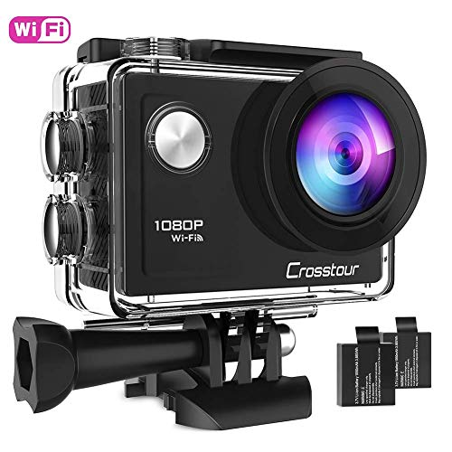 Crosstour Action Camera 1080P Full HD Wi-Fi 12MP Waterproof Cam 2 LCD 30m Underwater 170