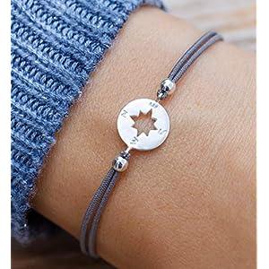 Armband Frauen Kompass Silber Größenverstellbar