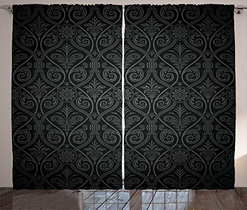Ambesonne Black Curtains by, Antique Baroque Damask Pattern Gothic Curvy Vintage Victorian Venetian Style, Living Room Bedroom Window Drapes 2 Panel Set, 108 W X 84 L Inches, Charcoal Grey