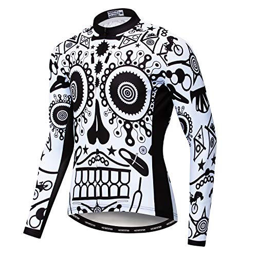 Men's Cycling Jersey Long Sleeve Pro Brand Team Reflective Bicycle Shirts Jacket Skeleton Face