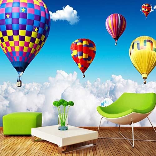 HUATULAI muurschildering 3D achtergrond lucht heteluchtballon op de wolken fotobehang voor kinderen kinderkamer behang wooncultuur kamer landschap 400 x 280 cm/b x h