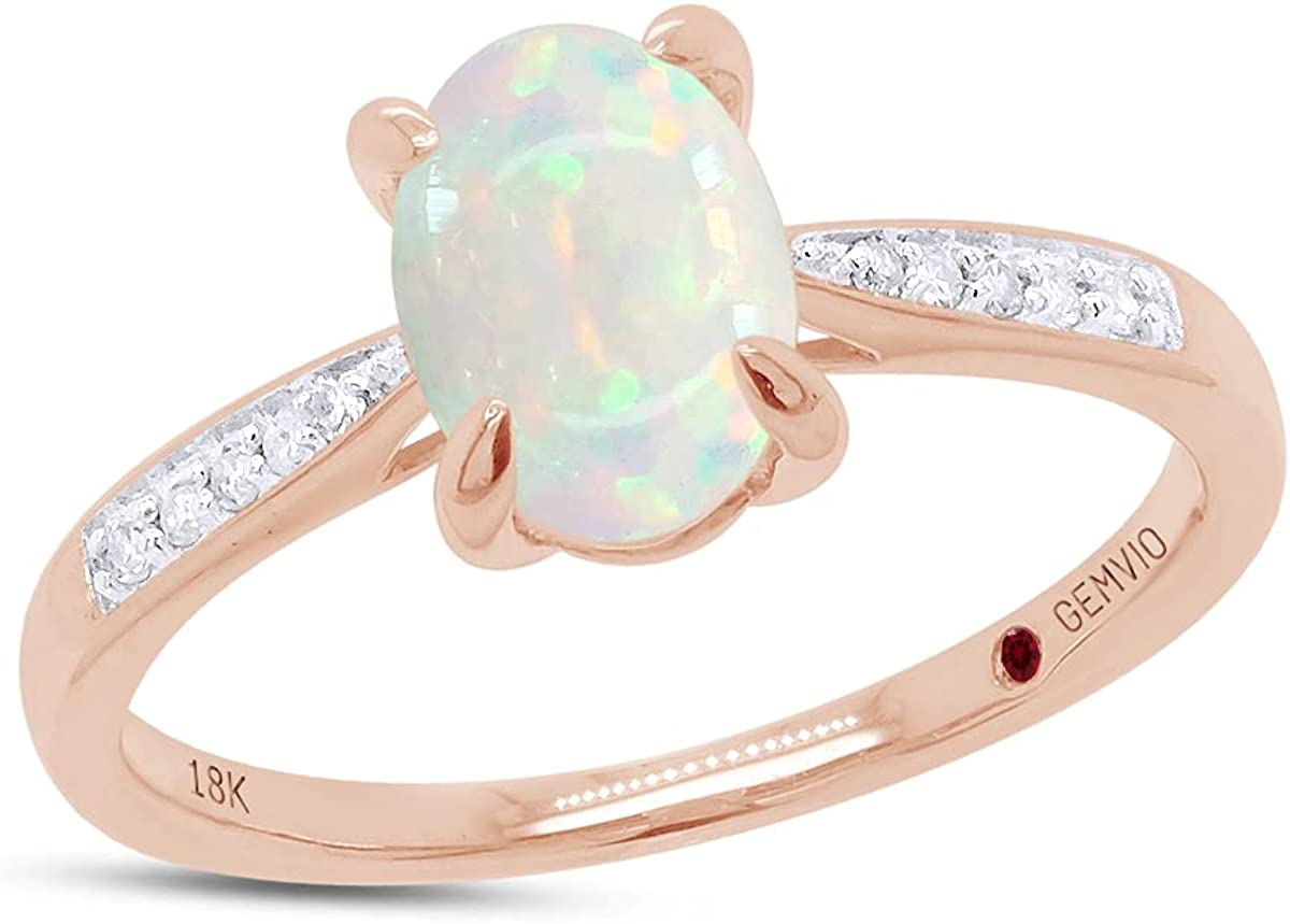 GEMVIO Collection Blush Oval Cut 8X6MM Natural White opal Halo Solitaire Gemstone & Diamond Accent in 10K, 14 Or 18K Solid Gold Engagement Promise Statement Anniversary Wedding Ring(0.90Cttw)