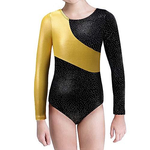 Kidsparadisy Mädchen Gymnastik-Turnanzug Tanzkleidung Lange Ärmel Regenbogen Streifen zum 2-15 Jahre (Gold, 170(14-15T))