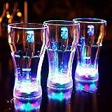 SJLED - Tazas de luz flash con luz LED intermitente de colores de 340 g, activado por agua automáticamente, vasos de cerveza LED para cerveza de coque, cerveza, vino, whisky Vodka Martini 3 Pack