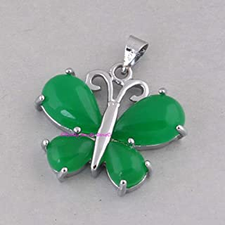 Green Jade Pendant, 925 Sterling Silver Pendants for Womens, Pear Gemstone Pendants, Handmade May Birthstone Pendants, Butterfly Pendant