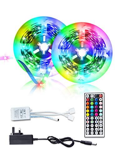LED Strip Light Kit, 32.8ft/10m Color Changing Led Lights Strips, SMD 5050 RGB Light Rope with 44-Keys Controller DC12V Power Supply for Home Garden Bedroom Sitting Room Party Lighting Decor