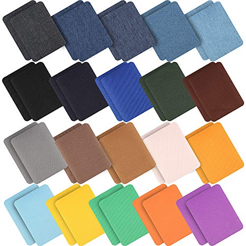 40 Pezzi Ferro su Patch in Tessuto Ferro su Patch Denim Jean di Riparazione Patch di Riparazione Abbigliamento Kit per Giacca Jean, Vestiti, Taglia Grande 4.9'x3.7' (20 Colori)