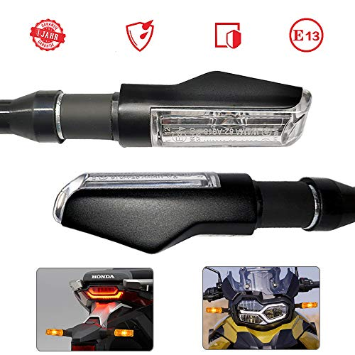 Evermotor Universal 2 Stk Motorrad LED Blinker E-MARK E Prüfzeichen Aluminiumschale mit schöner Oberflächenbehandlung IP67 Wasserdicht