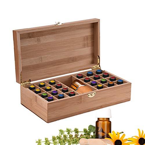 Beunyow 25 Löcher Tragbar Bambus Aromatherapie Geschenk-Box Ätherische Öle Flaschen Box Aufbewahrung Koffer Box - Geeignet für Nagellack, Duftöle, Ätherisches Öl, Stain und Lippenstift #1