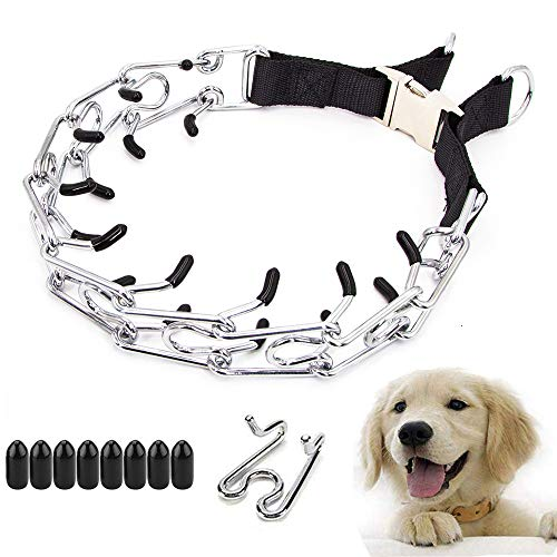 professional dog training collars Supet Adjustable Pinch Collar, Professional Dog Pinch Training Collar Adjustable Size Pet Choke Collar with Comfort Rubber Tips Ultra Plus Chrome Plated Prong Training Collar