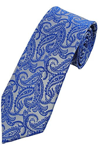 COLLAR AND CUFFS LONDON - Cravate - GRANDE QUALITÉ - Pure Soie - Artisanal - Paisley - Bleu Marine - Fashion Classique