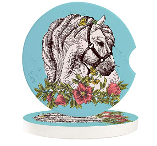 Car Drinks Coasters Boho Animal Horse Poppy Wreath Equestrian Round Coaster Car Accessories with Absorbent Ceramic Stone&Finger Notch for Easy Removal Set of 2 Pack