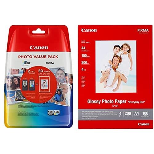 Canon Pg-540Xl+Cl-541Xl Tinta Original BK XL+Tricolor XL Impresora Inyeccion Tinta Pixma + Gp-501, Papel Fotográfico A4 con Brillo (100 Hojas, 200G/M2)