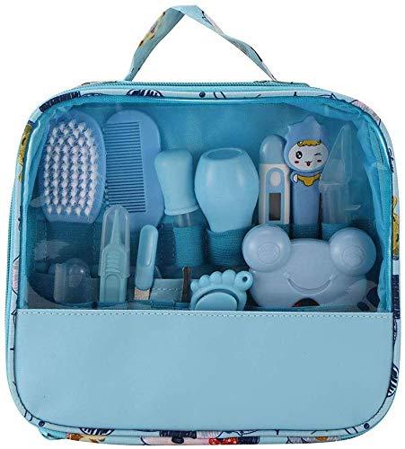 13-teiliges Baby Pflege Produkte Neugeborenes Baby Nagel Haar Gesundheitspflege Thermometer Pflegenbürsten Ausrüstung Baby Pflegeset (Blau)