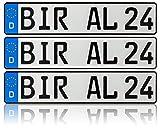 3 x Kennzeichen   520x110mm   Nummernschilder   KFZ Auto PKW LKW   DHL-Versand