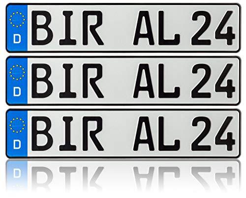 3 x Kennzeichen | 520x110mm | Nummernschilder | KFZ Auto PKW LKW | DHL-Versand