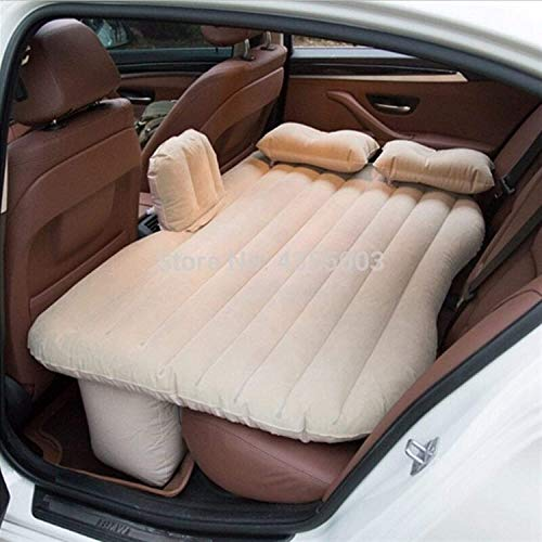 ZT Automotive Air Inflatable Mattress Car Travel Bed Camping Sofa Rear Seat Rest Cushion Rest Sleeping Pad Without Pump Universal,Inflatable Mattress Car Car Inflatable Mattress Bed ( Size : Beige )