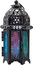 Castiçais marroquinos Uonlytech, lanterna decorativa de pendurar estilo vintage, lanterna de ferro e vidro decorativa para...
