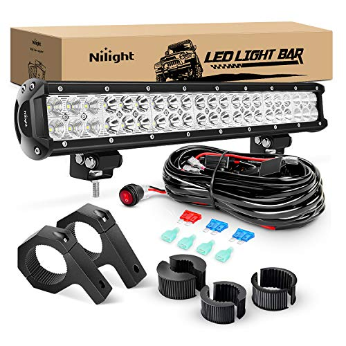 Nilight 1PCS 20 Inch 126W Spot Flood Combo LED Light Bars Off-Road Light Mounting Bracket Horizontal Bar Tube Clamp With Off Road Wiring Harness- 2 Leads, 2 Years Warranty, Model: ZH063