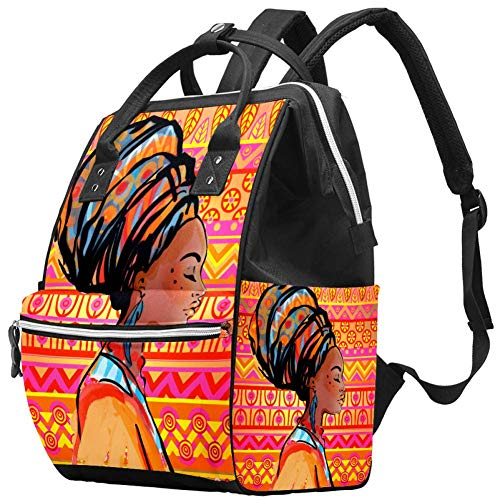 Diaper Bag Backpack Multifunction Travel Changing Bags Large Capacity School Tote Beautiful African Woman with Earring