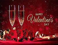 ZPCバレンタインデーの背景にシャンパングラスと赤いバラの花のカップルの恋人ビニール写真の背景スタジオ小道具パーティーバナー装飾7X5FT