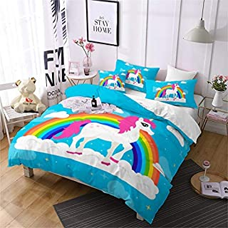 Jessy Home Blue Rainbow Cartoon Unicorn Bedding Twin for Girls,Cartoon 3D Duvet Cover Set 2 Pieces Includes 1 Pillowcase,Protects and Covers Your Duvet Insert