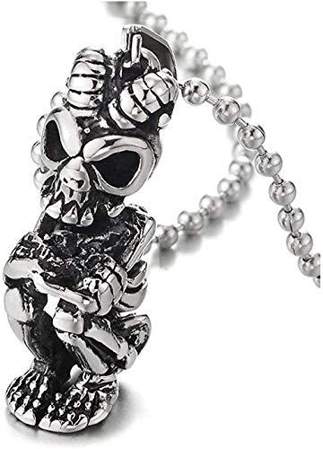 Collar con colgante de calavera de acero inoxidable con personalidad retro Punk Hip Hop Rock para hombre