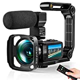 Video Camera Ultra 2.7K Camcorder HD 36MP Digital Vlogging Recorder with IR Night Vision and 16X Digital Zoom Equipped with Touchable Screen, External Microphone, Remote Control and Batteries included