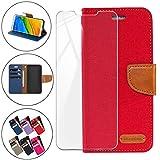 HYMY Denim Hülle für Wileyfox Swift 2X + Schutzfolie Panzerglas Folie - Lederhülle Flip Schutzhülle Card Slot mit Brieftasche Handyhülle Bookstyle Flip Cover Hülle - Red