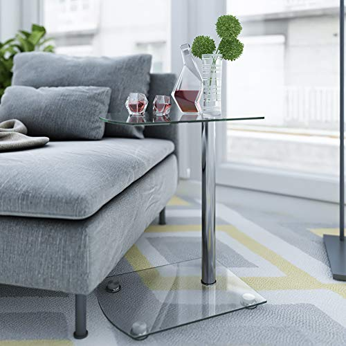 Beliwin Glass Sofa Side Table 2 Shelves, Small Coffee/Snack/End Table C Shape with Double Storage Space for Living Room Bedroom (C)