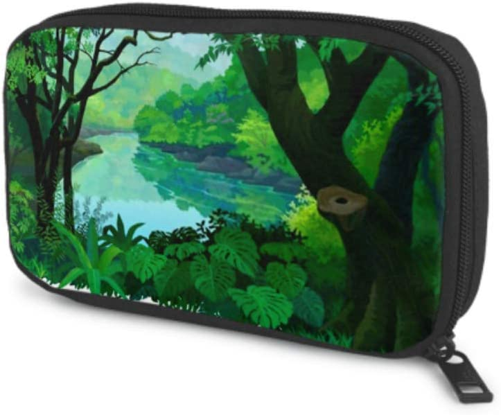 Electronics Accessories Organizer Bag Dense Green Tropical Forest Flowing Fresh Electronics Organizer Electronic Cord Organizer Travel Storage Bag of Cases for Cable, Charger, Phone, USB, Sd Card