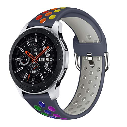Syxinn Compatible para 22mm Correa de Reloj Galaxy Watch 46mm/Gear S3 Frontier/Classic/Galaxy Watch 3 45mm Banda de Silicona Deportiva Pulsera para Moto 360 2nd Gen 46mm/Huawei Watch GT 2 46mm