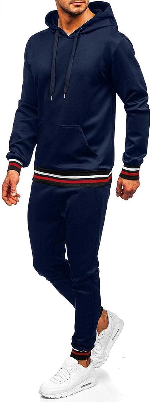 LEIYAN Mens 2 Piece Sets Casual Long Sleeve Slim Fit Hoodie Pullover Loose Fit Sweatpants Athletic Sport Suits