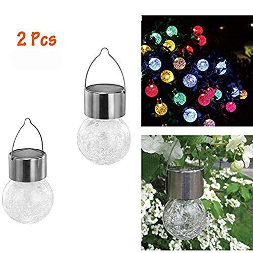 HIMM LED-Gartenleuchte, solarbetrieben, kugelförmig, zum Aufhängen, Glaskugel, Craquelé-Glas, Dekoration für den Innen- und Außenbereich, für Party/Geburtstag/Feier/Halloween/Weihnachten