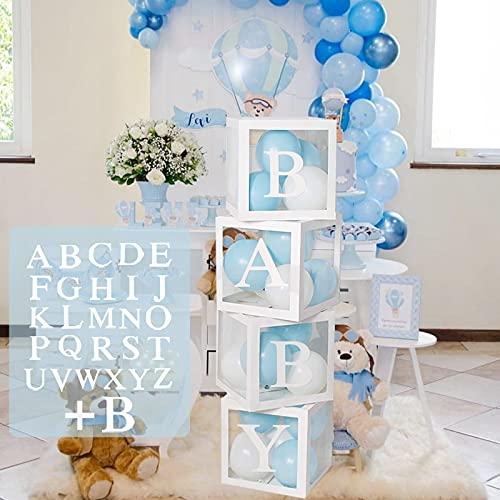 Baby Shower Box Deko für Junge oder Mädchen, 4Pcs Transparente Luftballon Boxen Baby mit 27 Buchstaben für Babyparty Geburtstag, Geschlecht Offenbaren, Themen Party Boxen Hintergrund Dekoration