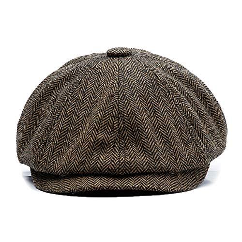 KeepSa Newsboy Casquillo Plano Sombreros Baker Boy Gorras - 8 Panel Peaky Herringbone Tweed Gatsby Hat Ivy Irish Cap para Hombres y Mujeres, Ajuste 56~61cm