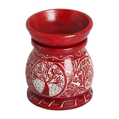 Casa Moro Orientalische Duftlampe Shakir-4 aus Soapstone geschnitzt 10x10x11 cm (B/T/H) ätherisches Öl Diffusor, Teelicht-Halter für Aromatherapie, handbemalte Aromalampe | SL3040
