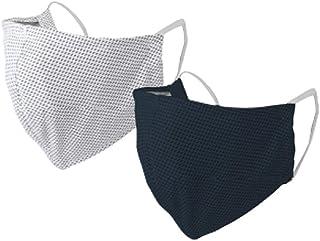 SPICE OF LIFE(スパイス) UVカットウォータークールマスク2枚セット ネイビー&ホワイト ふつうサイズ UVカット(UPF50+) 洗濯機洗い可 SFVZ2089LNW