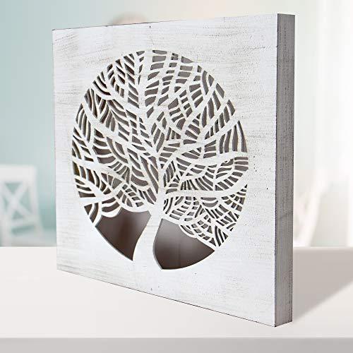 Cuadro Mandala de Pared - árbol de la Vida Calada, Fabricada artesanalmente en España- Mandala 3D Cuadrada Pintada a Mano (214 Blanco envejecido, 50x50 cm)