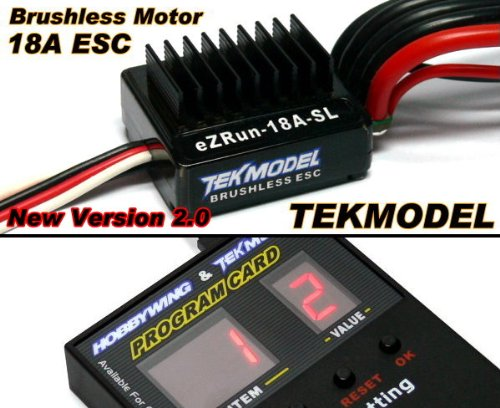 RCECHO HOBBYWING EZRUN TEKMODEL RC Brushless Motor 18A ESC & Program Card CA069 with Full Version Apps Edition