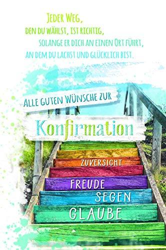 Konfirmationskarte von KE - Konfirmation Karte - Glückwunschkarte - Für Jungen & Mädchen - DIN A6 - Klappkarte inkl. Folie & Umschlag - Motiv: Treppe