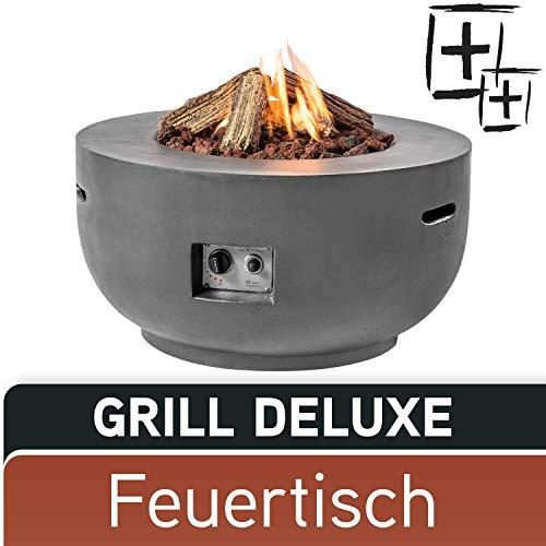 M A N I A Feuertisch Grill Deluxe Set - Gas Feuerstelle ohne Rauch, Funken, Glut & Asche - Gaskamin Outdoor mit 19,5 kW in Betonoptik grau 91 x 91 x 46 cm - Gasfeuerstelle Terrassenkamin Kaminfeuer