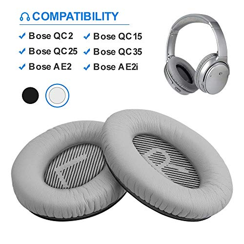 Bose Quiet Comfort 35 Replacemen Ear Cushions Kit by Link Dream Soft Protein Leather Replacement Ear Pad for Bose QC 35/25 / 15 QC2 / Ae2 / Ae2i / Ae2W / Sound Link/Sound True (White)