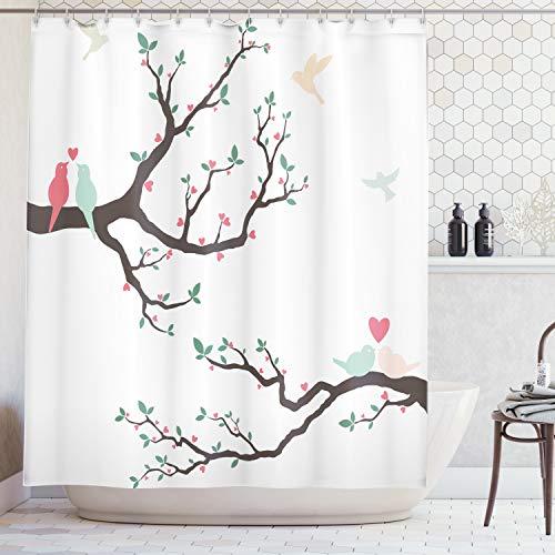 ABAKUHAUS Duschvorhang, Vögel auf Dem Baum Serenade Partner Zeremonie Valentinstag Romantik Thema...