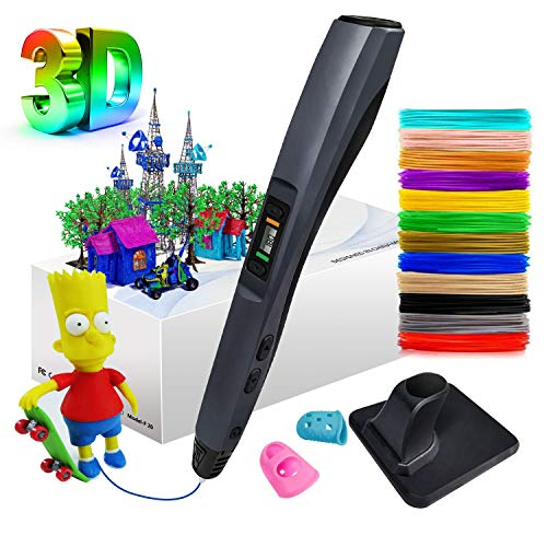 MinSoHi 3D Pen, Intelligent 3D Printing Pen with 12 Colors 1.75mm PLA Filament, Compatible with PLA & ABS, 8 Speed Printing & Temperature Control, LCD Display Perfect Arts Crafts Gift for Kids Adults