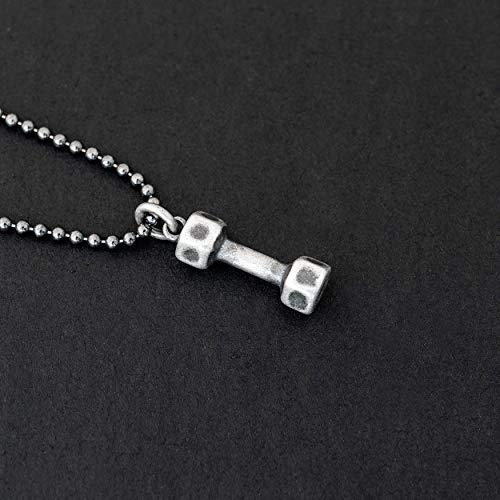 925 collar de plata esterlina para hombres colgantes para hombres collar colgante cadena con mancuernas pesas joyería culturista collar regalo para hombre