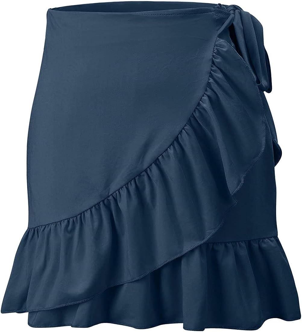 Anienaya Women's Summer Boho Print Ruffle Hem Wrap Tie Waist Mini Short Overlap Skirt