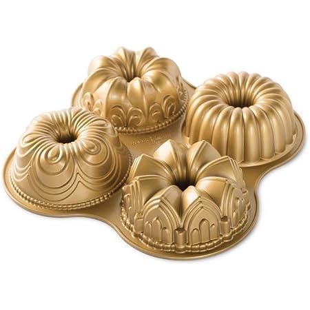 Nordic Ware Bundt Quartet Pan, quotL x 12.38&quotW x 2.47&Quoth, Gold