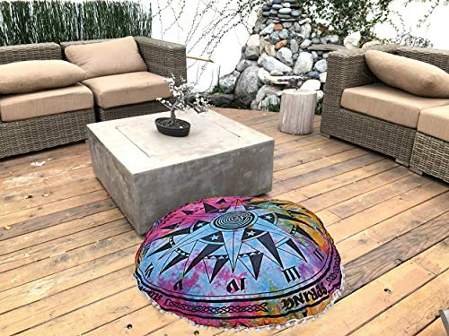 Cotton Tie Dye Cushion Pillow Cover Handmade Mandala Round Ottomans Cover Round Bean Bags Decorative Footstools